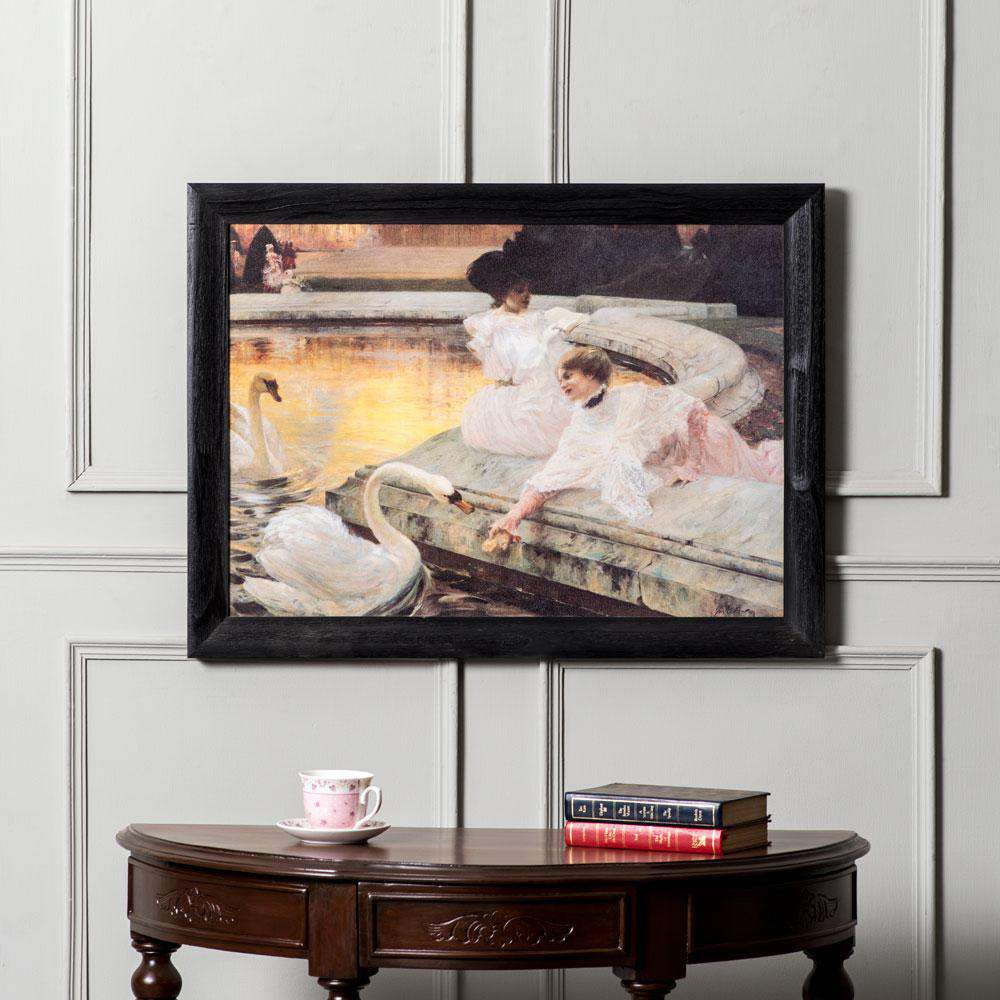 'Feeding the Swans' - Framed Italian Print.