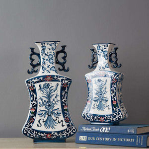 Chinoiserie Blue and White Vase - Small
