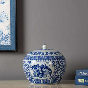 Blue and White Orchestra Temple Jar w/ Stand