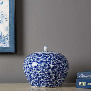Blue and White Cluster Flower Ginger Jar w/ Stand