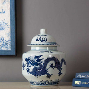 Blue and White Dragon Ginger Jar w/ Stand