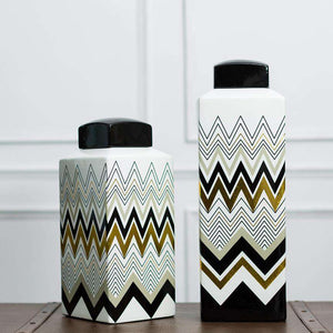 Chevron - Decorative Lidded Jar - Small