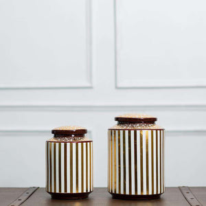 White & Gold Striped Decorative Jar - Large