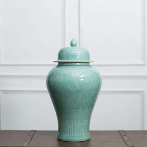 The Lotus - Celadon Temple Jar - Small