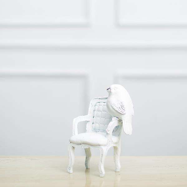Adorable White Bird on Chair - Tabletop Accent