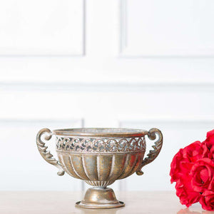 Napoli Collection - Antiqued Gold Wide Necked Trophy Style Urn