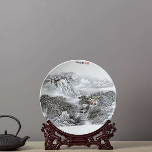 Oriental Landscape Plate with Stand 14""