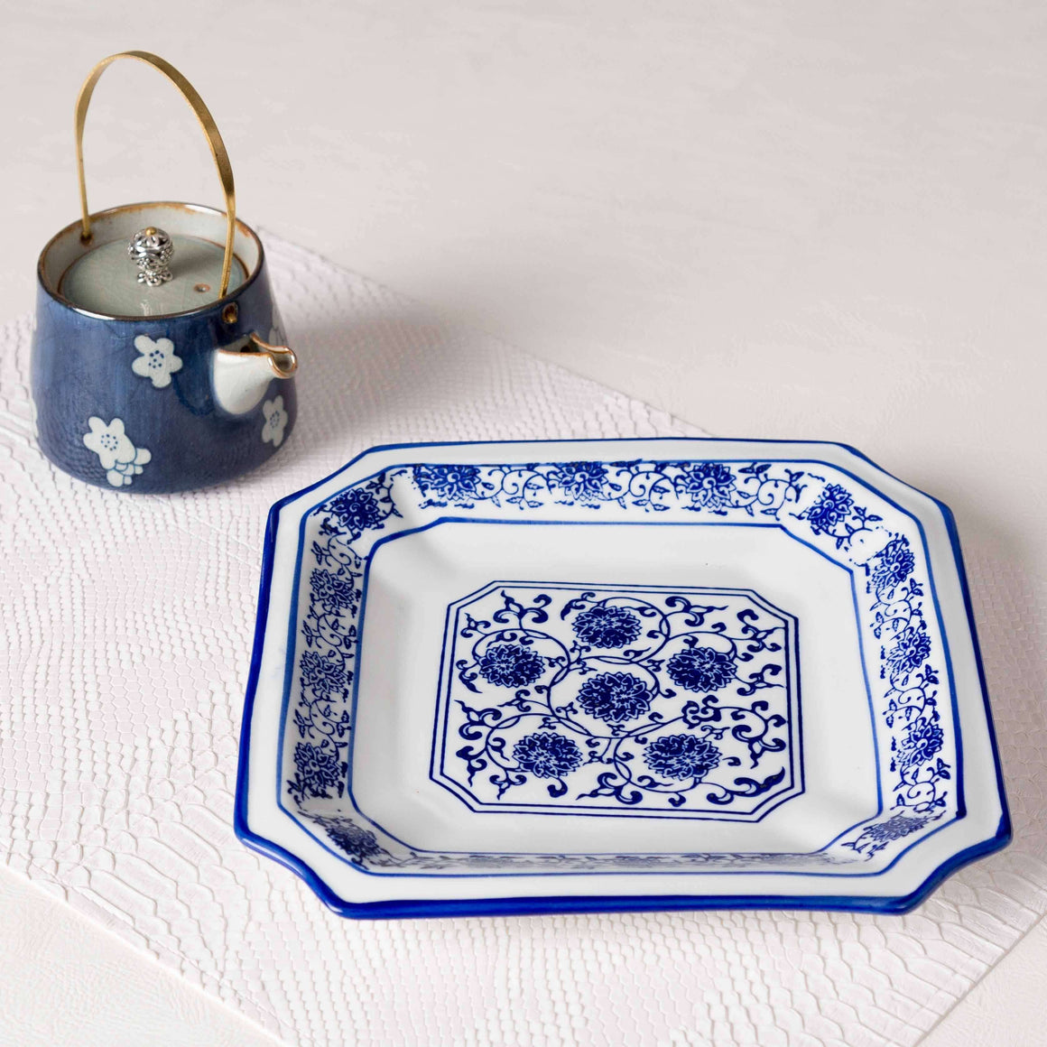 Vintage Blue & White Square Dinner Plate