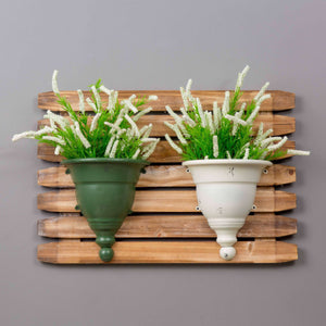 Dual Urn Wall Planter - Green & White