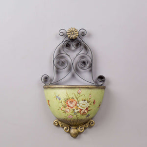 Victorian Ornate Wall Planter - Green