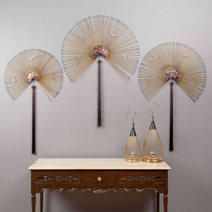 Metal Hand Fan Wall Accents - Set of 3