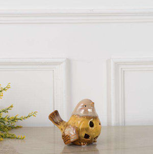 Adorable Ceramic Bird Figurine (Single) - Yellow