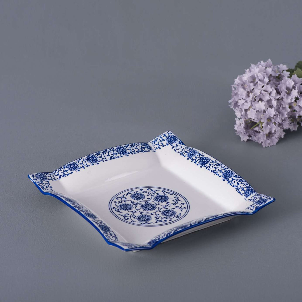 Vintage Blue and White Square Dinner Plate - 9.5""