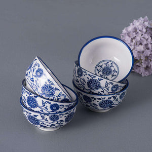 Set of 6 Vintage Blue and White Bowls - 4.5""
