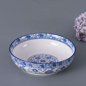 Vintage Blue and White Serving Bowl - 10""