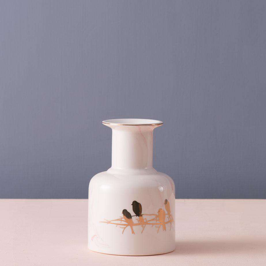 'Perched' Marbleised Ceramic Vase - Small