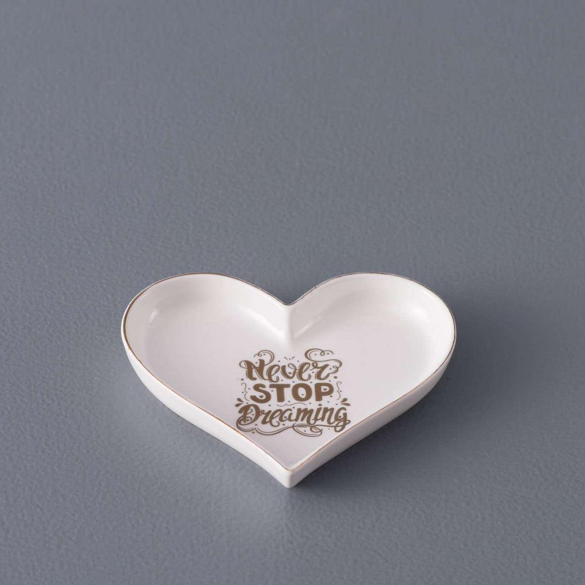 'Never Stop Dreaming' Heart Shaped Ring Dish