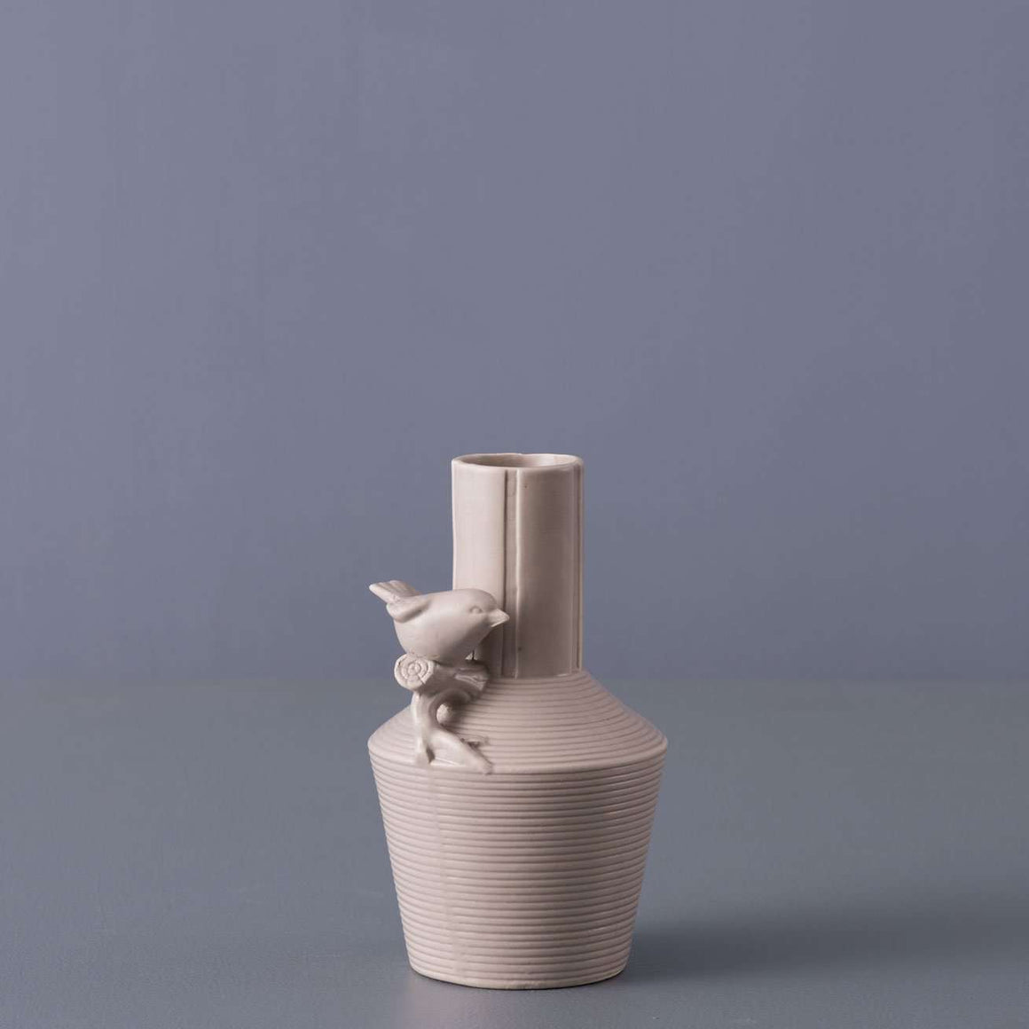 'Iconic' II Ceramic Bird Vase - Matte Sand