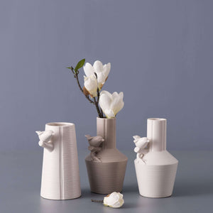'Iconic' II Ceramic Bird Vase - Cream