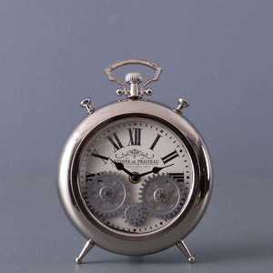 Chateau - Silver Chrome Moving Gears Table Clock