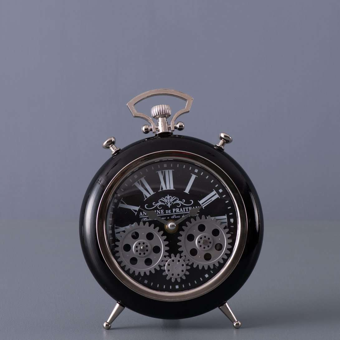 Chateau - Black Moving Gears Table Clock