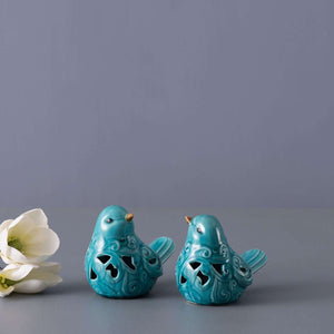 Set of 2 Cutout Bird Figurines - Turquoise