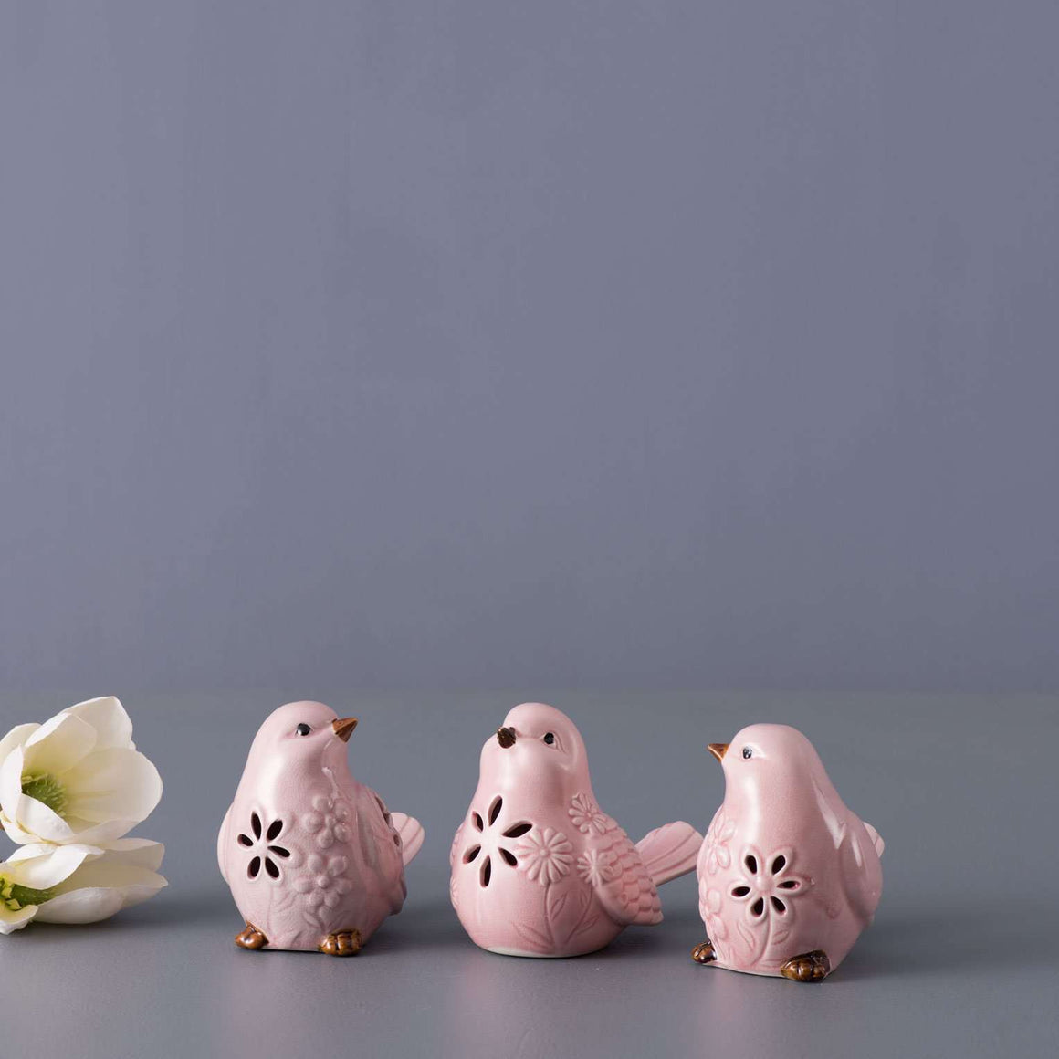 Set of 3 Cutout Bird Figurines - Pink