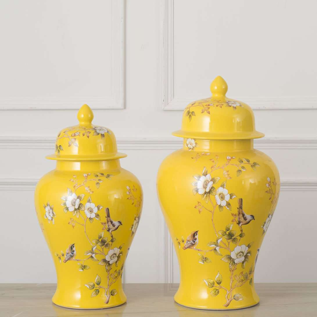Canary Yellow Temple Jar - Large