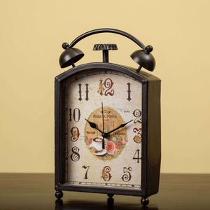 Faux Alarm Table Clock - Black