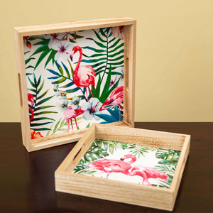 Tropical Flamingos - Square Set of 2 Trays