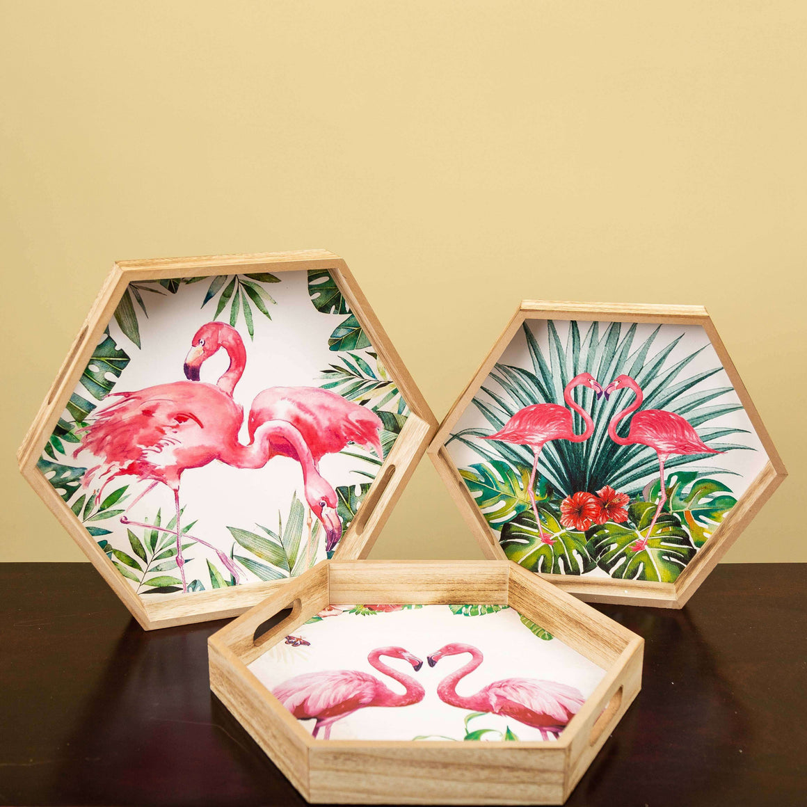 Tropical Flamingos - Hexagonal Set of 3 Trays