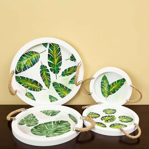 Tropical Palm - Round Set of 4 Trays