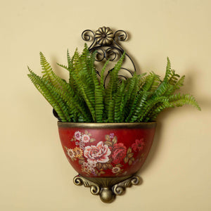 Victorian Ornate Wall Planter - Floral Red