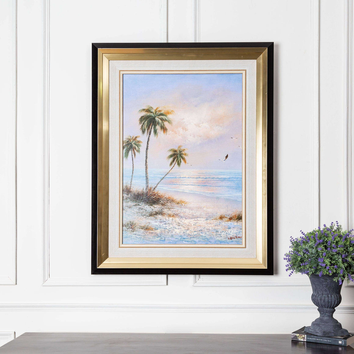 Tropical Sunset - Black & Gold Framed Art