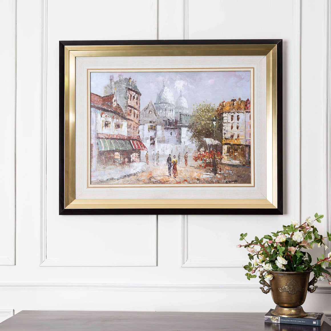 Impressionist City - Black & Gold Framed Art