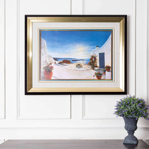Santorini Landscape - Black & Gold Framed Art