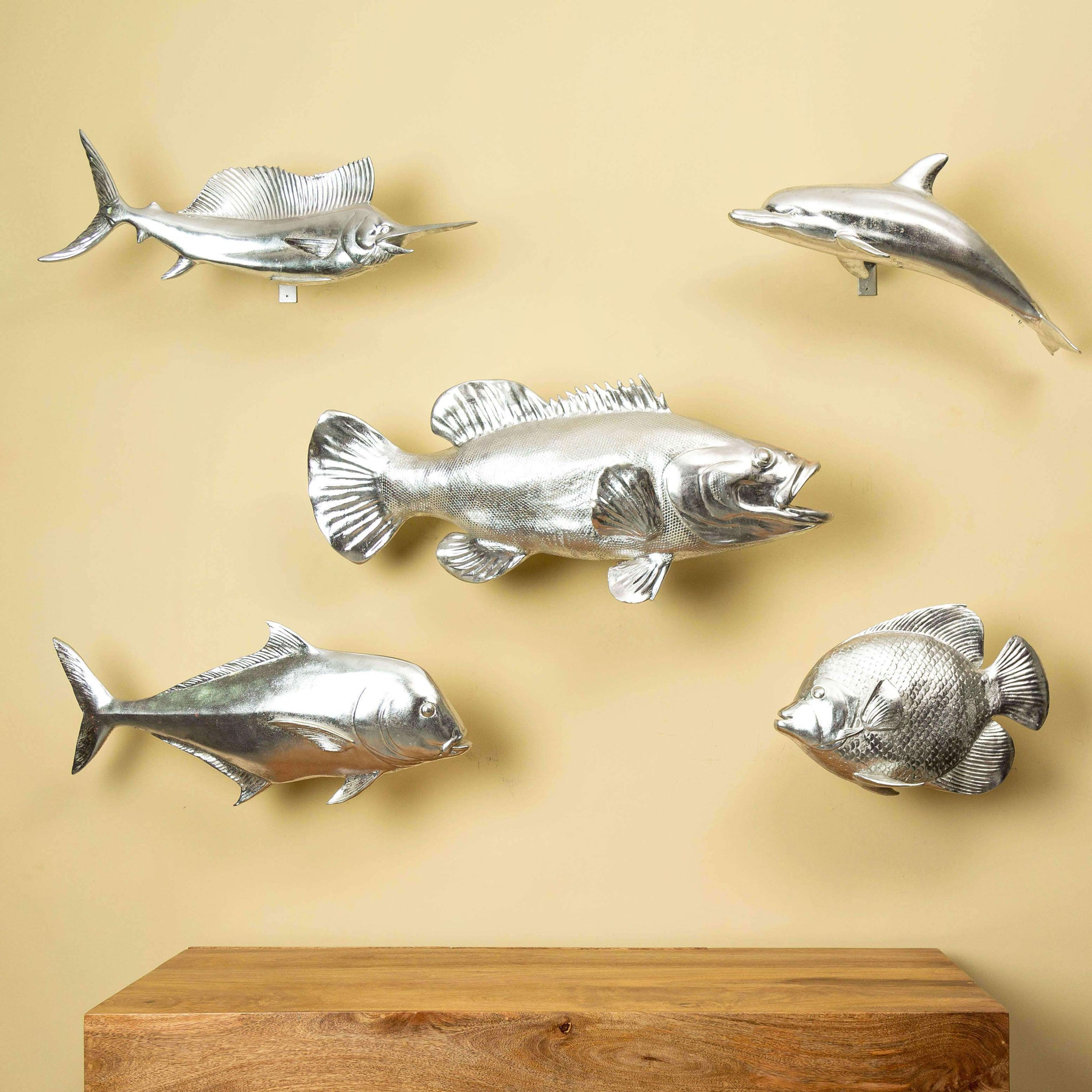 Silver Bass Fish Wall Sculpture - TheDecorKart