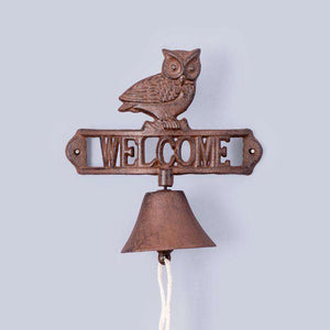 Rustic 'Welcome' Cast Iron Wall Mounted Bell - Owl