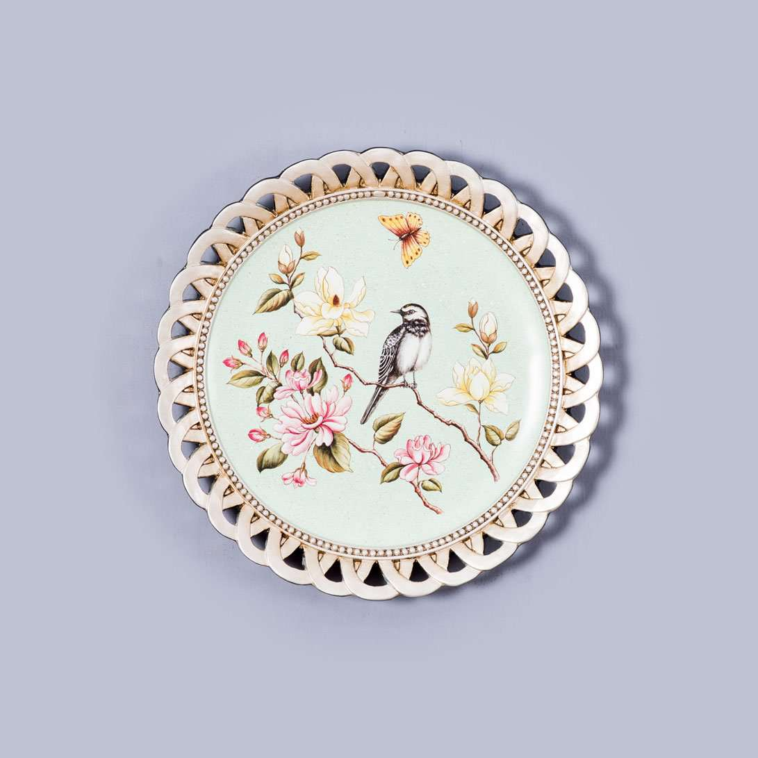 Floral Wall Plate with Stand 11""