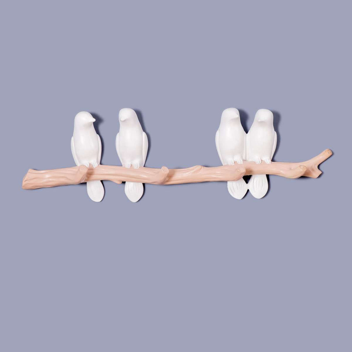 4 Birds on a Tree Wall Hook - White