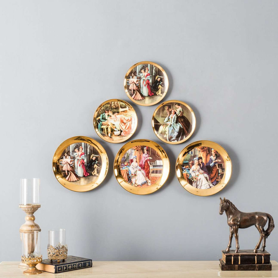 Classic Victorian Gold Plate Collage - Set of 6