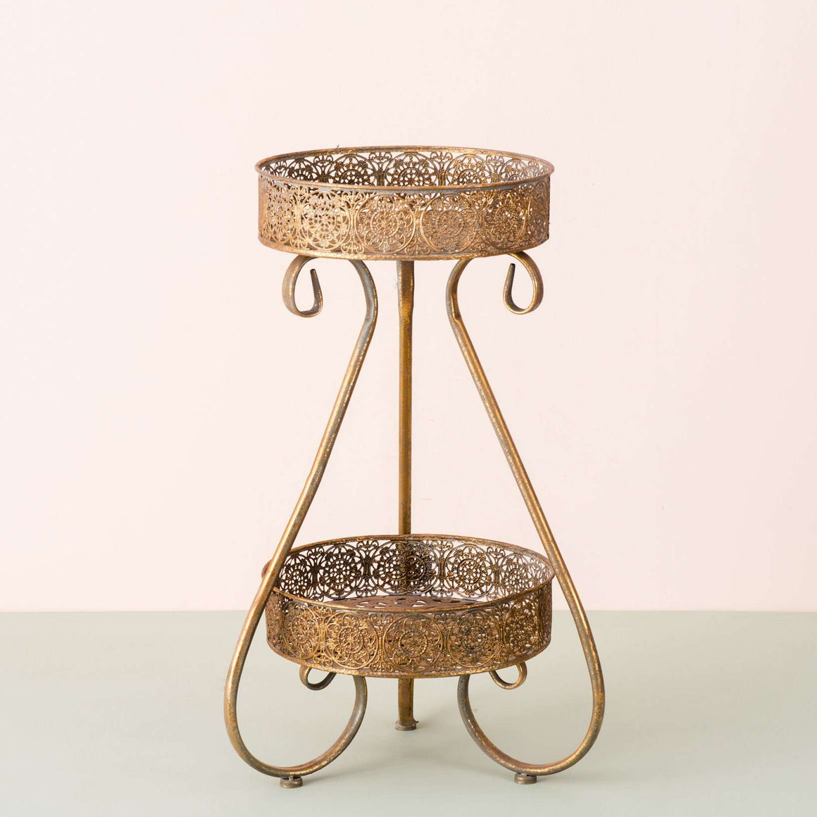 Napoli Antiqued Gold 2-Tier Accent Side Table