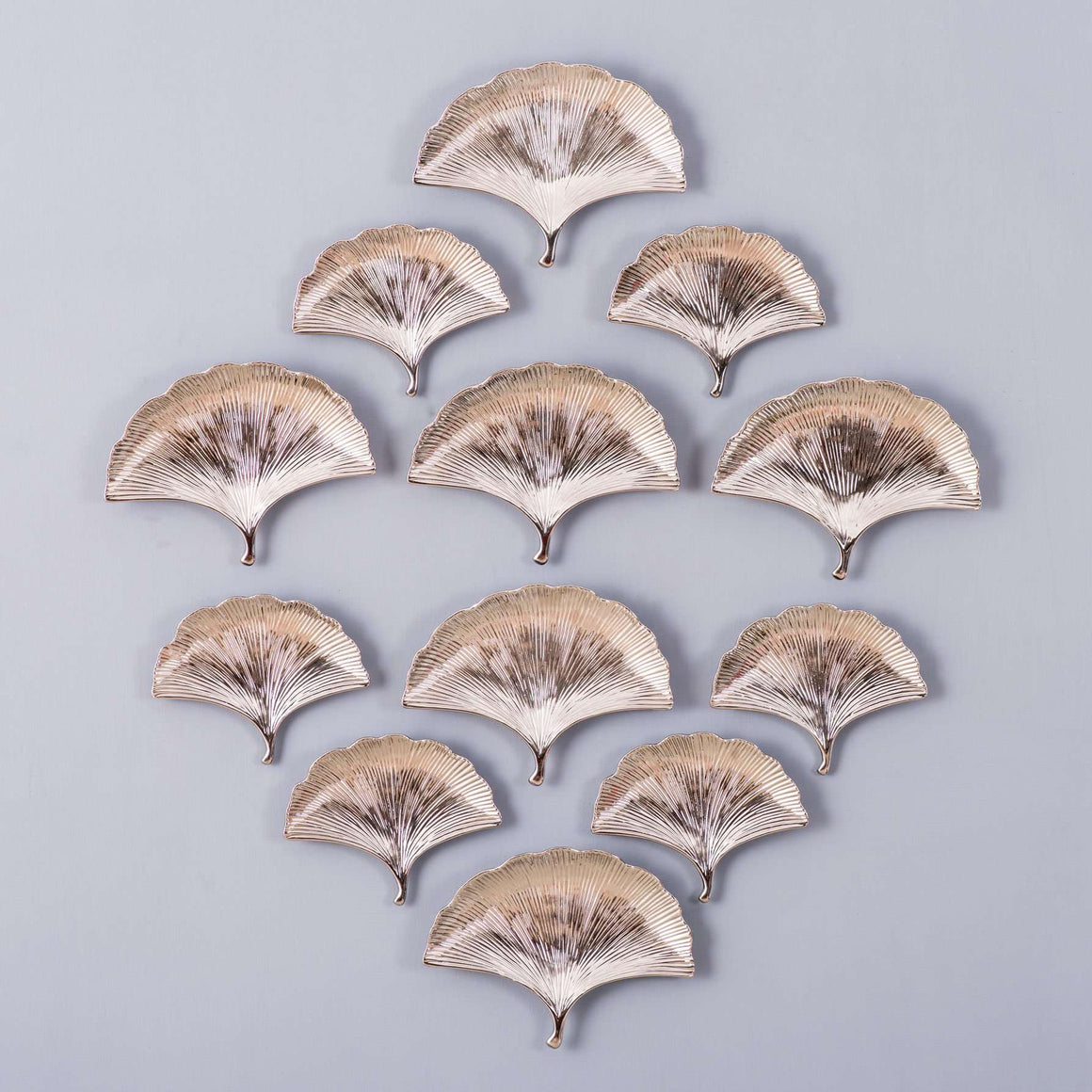 Silver Ginkgo Leaves Wall Collage - Set of 12