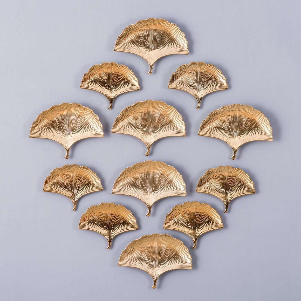 Gold Ginkgo Leaves Wall Collage - Set of 12