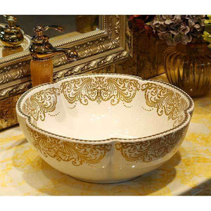 Gloss White and Gold Counter Top Basin - Damask