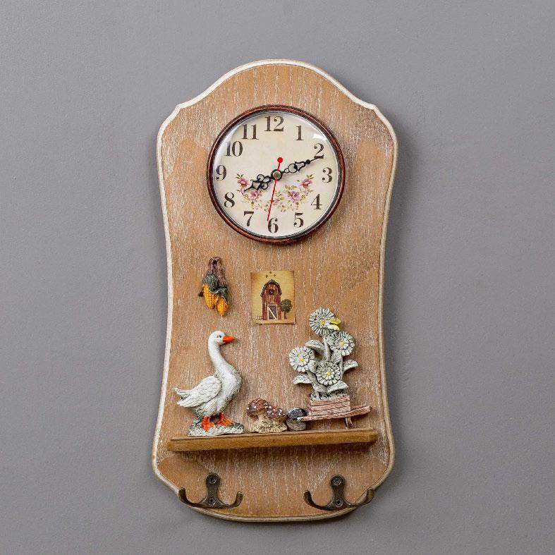 'Good Life' Wall Clock with Key Hooks