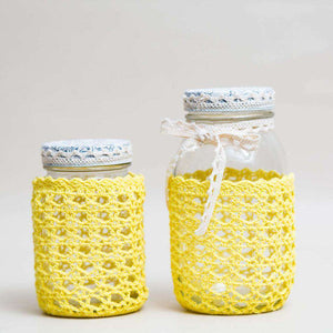 Glass Mason Jar with Yellow Crochet Cover - Small