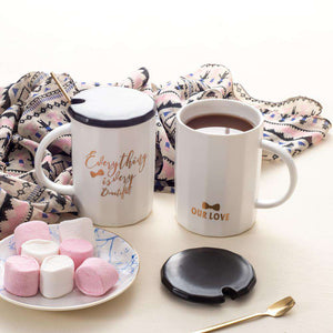 pastel ceramic coffee mugs, tea cups with lid and spoon