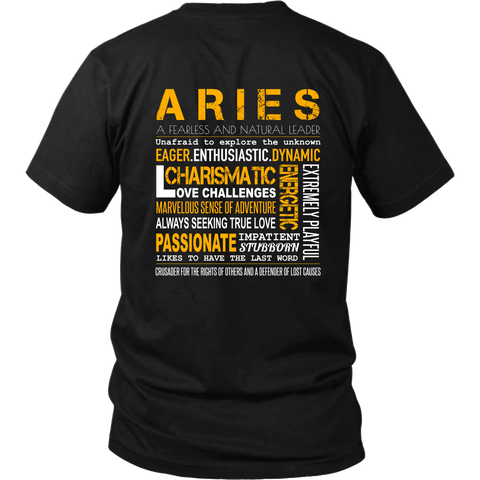 Aries Unisex T-shirt (Design 5 Back Printed)