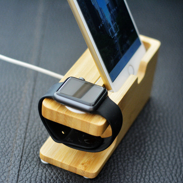 Wood Bamboo Stand Charging Station For Apple Watch and iPhone